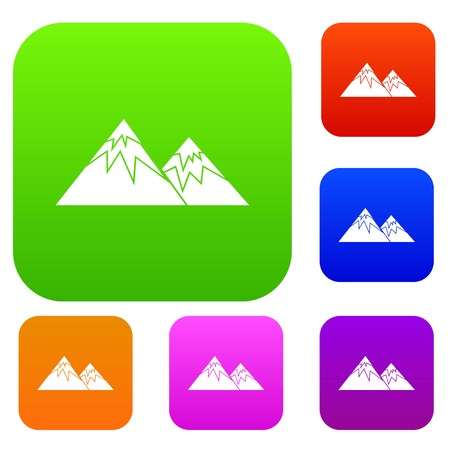 Swiss alps set icon in different colors isolated illustration.