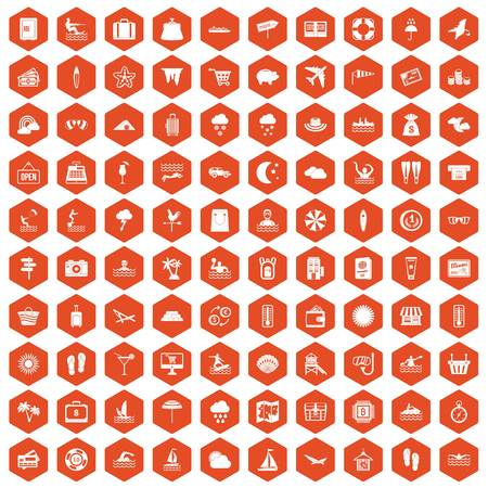 rainbow slide: 100 seaside resort icons set in orange hexagon isolated vector illustration