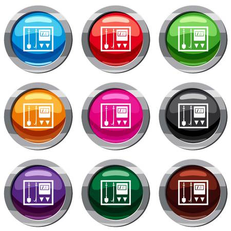 Fire shield set icon isolated on white. 9 icon collection vector illustration