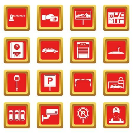 Le icone di parcheggio dell'automobile hanno messo nell'illustrazione di vettore isolata colore rosso per il web e qualsiasi progettazione Archivio Fotografico - 83875274