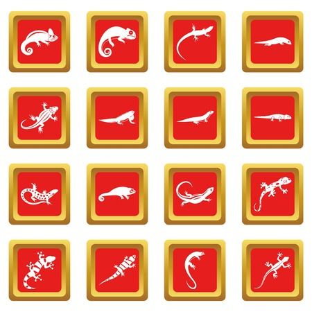 Lizard icons set in red color isolated vector illustration for web and any design