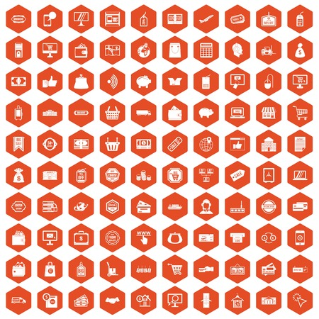 100 shopping icons set in orange hexagon isolated vector illustration