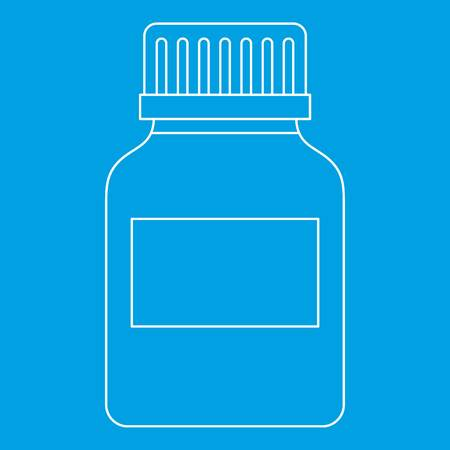 homeopathic: Medicine bottle icon blue outline style isolated vector illustration. Thin line sign Illustration
