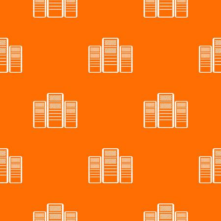 hard disk: Database servers pattern repeat seamless in orange color for any design. Vector geometric illustration