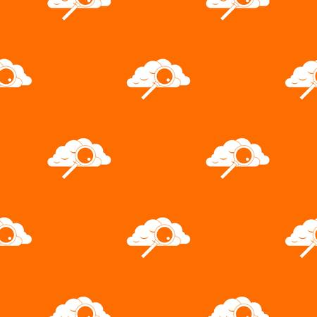 Cloud with magnifying glass pattern repeat seamless in orange color for any design. Vector geometric illustration Illustration
