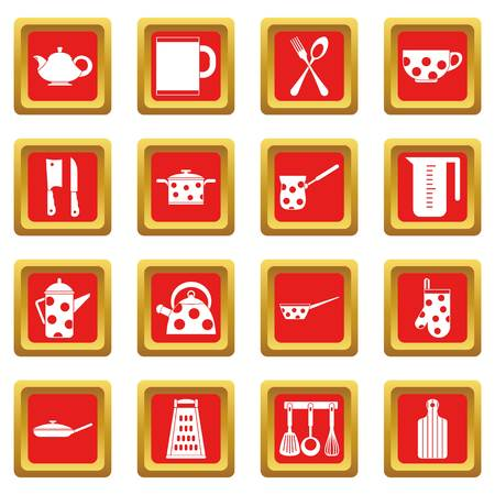 Kitchen tools and utensils icons set in red color isolated vector illustration for web and any design Illustration
