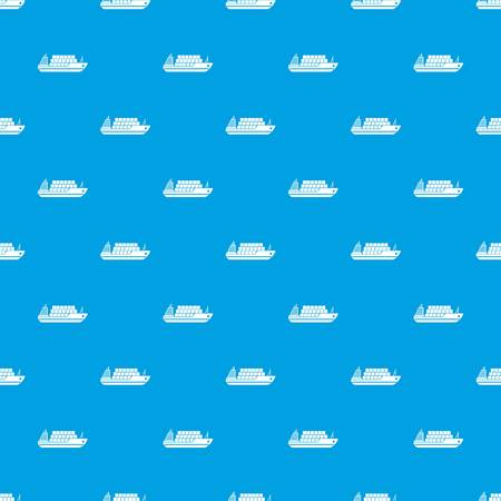 Cargo ship pattern repeat seamless in blue color for any design. Vector geometric illustration Illustration