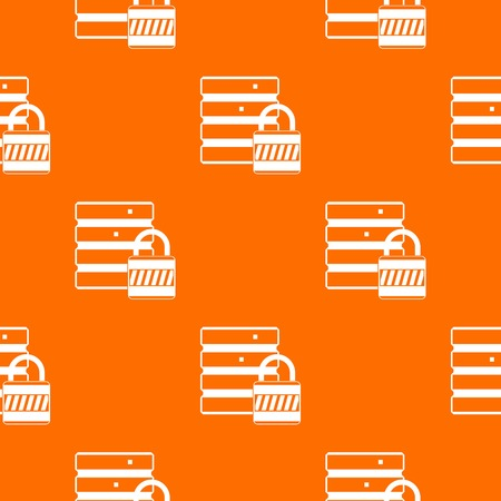 hardware: Database with padlock pattern repeat seamless in orange color for any design. Vector geometric illustration