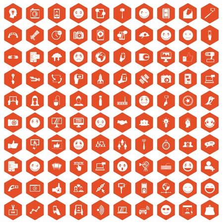 100 social media icons set in orange hexagon isolated vector illustration