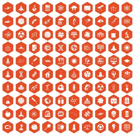 spacesuit: 100 space icons set in orange hexagon isolated vector illustration