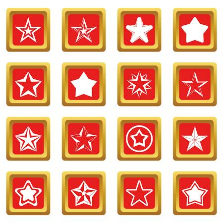 five star: Star icons set in red color isolated vector illustration for web and any design Illustration