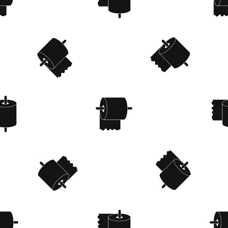 Rol wc-papier op houder patroon herhalen naadloos in zwarte kleur voor elk ontwerp. Vector geometrische illustratie