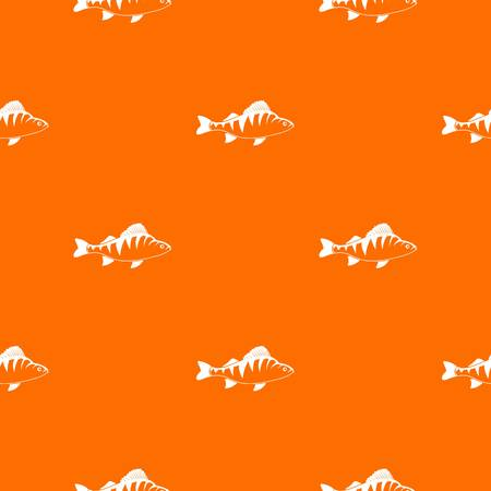 Fish pattern repeat seamless in orange color for any design. Vector geometric illustration Illustration