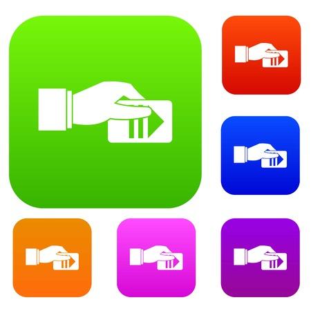 La mano con l'icona stabilita del biglietto di parcheggio nei colori differenti ha isolato l'illustrazione di vettore. Collezione Premium Vettoriali