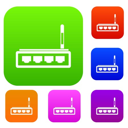 wireless communication: Router set icon in different colors isolated vector illustration. Premium collection Illustration