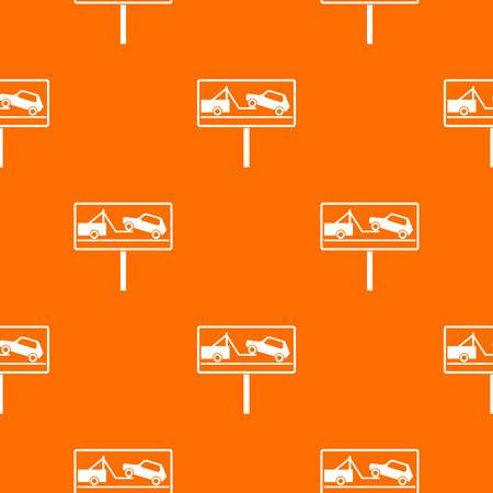 beware: No parking sign pattern repeat seamless in orange color for any design. Vector geometric illustration