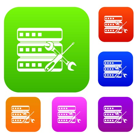 case: Database with screwdriver and spanner set icon in different colors isolated vector illustration. Premium collection