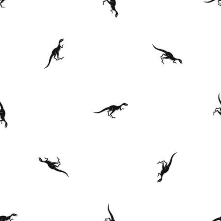 Velyciraptor pattern repeat seamless in black color for any design. Vector geometric illustration