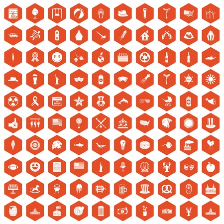100 summer holidays icons set in orange hexagon isolated vector illustration