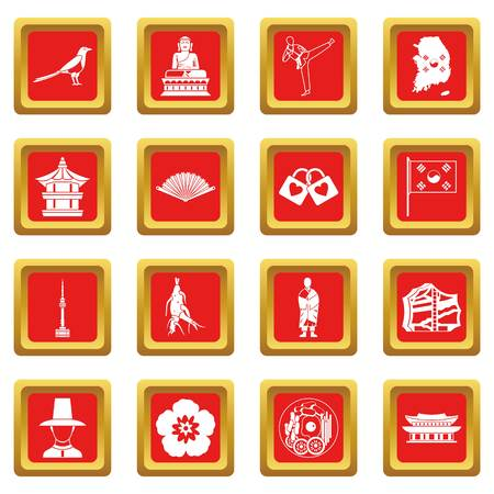South Korea icons set in red color isolated vector illustration for web and any design