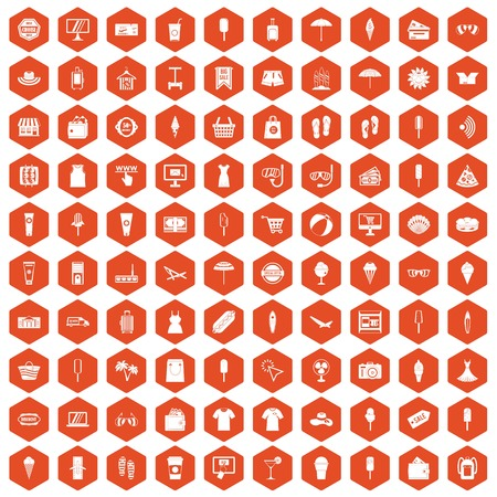 100 summer shopping icons set in orange hexagon isolated vector illustration
