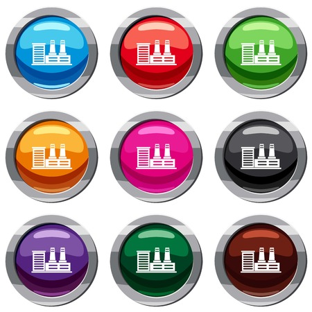 Power plant set icon isolated on white. 9 icon collection vector illustration Illustration