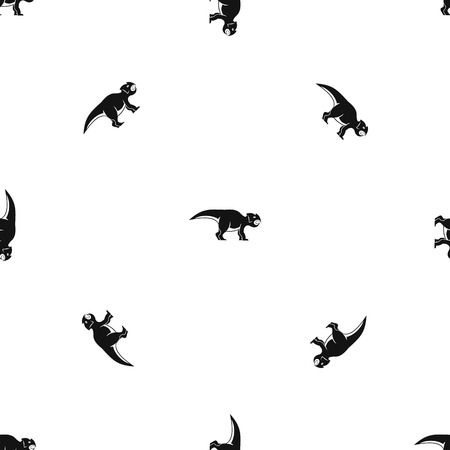 Ceratopsians dinosaur pattern repeat seamless in black color for any design. Vector geometric illustration