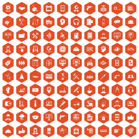 isp: 100 support center icons set in orange hexagon isolated vector illustration