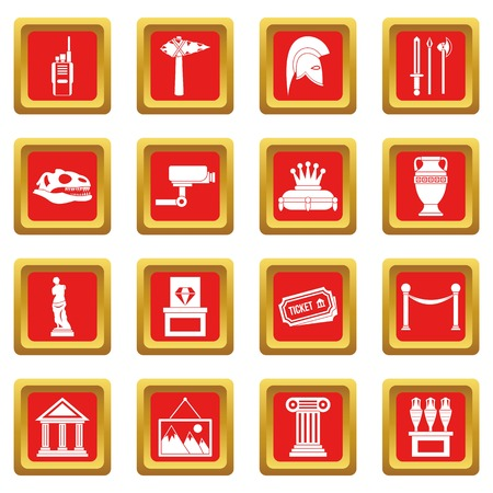 antique vase: Museum icons set in red color isolated vector illustration for web and any design