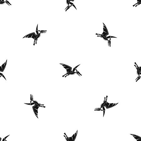 Pterosaurs dinosaur pattern repeat seamless in black color for any design. Vector geometric illustration