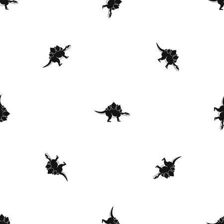 Stegosaurus dinosaur pattern repeat seamless in black color for any design. Vector geometric illustration Illustration