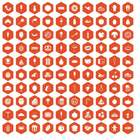 100 tasty food icons set in orange hexagon isolated vector illustration Illustration