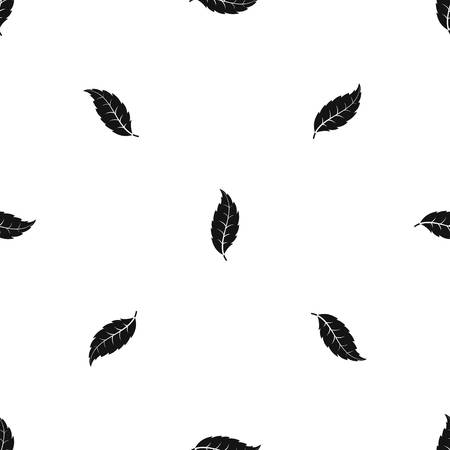 Narrow toothed leaf pattern repeat seamless in black color for any design. Vector geometric illustration