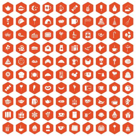 100 tea party icons set in orange hexagon isolated vector illustration Illustration