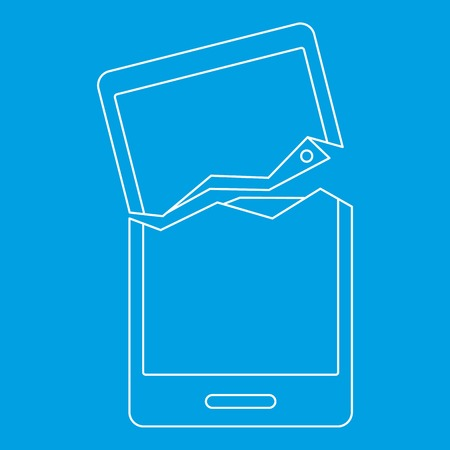 touch screen phone: Broken phone icon blue outline style isolated vector illustration. Thin line sign
