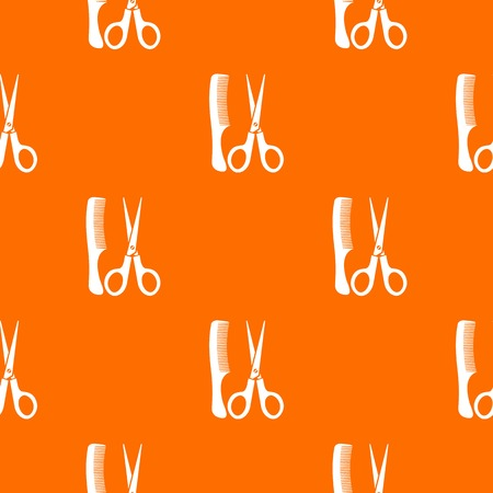 Scissors and comb pattern repeat seamless in orange color for any design. Vector geometric illustration