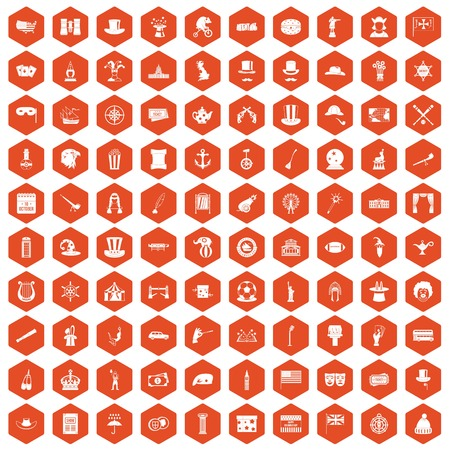 top gun: 100 top hat icons hexagon orange Illustration