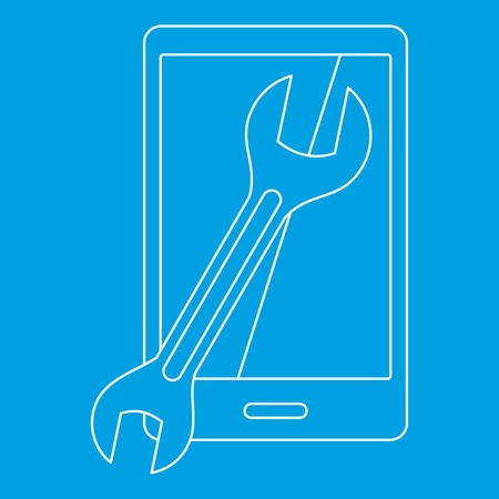 touch screen phone: Repaired phone icon, outline style Illustration