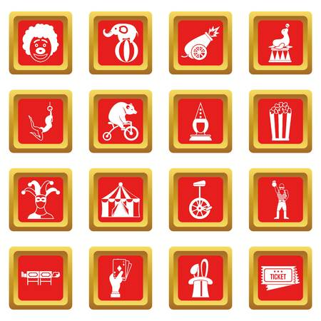 Circus entertainment icons set red Illustration