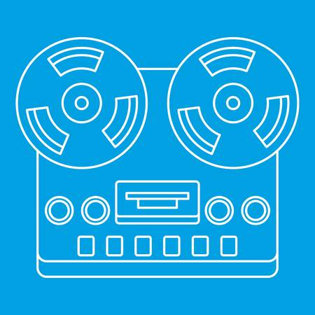 Analog stereo open reel tape deck recorder icon blue outline style isolated vector illustration. Thin line sign Ilustração