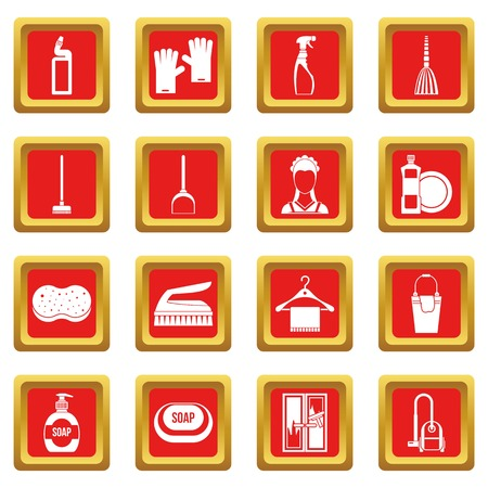 House cleaning icons set red Çizim