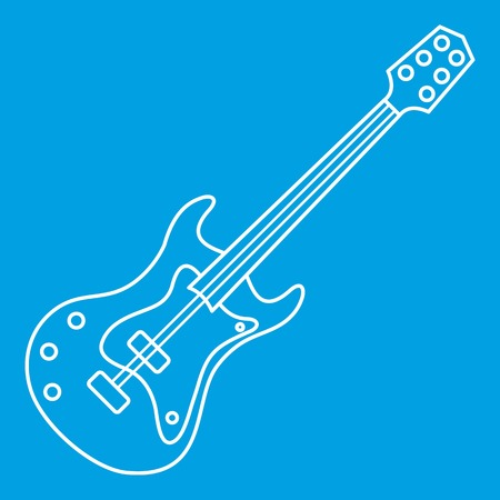 Electric guitar icon, outline style