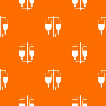 intravenous drip: Intravenous infusion pattern repeat seamless in orange color for any design. Vector geometric illustration
