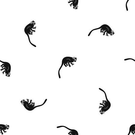 Marmoset monkey pattern seamless black