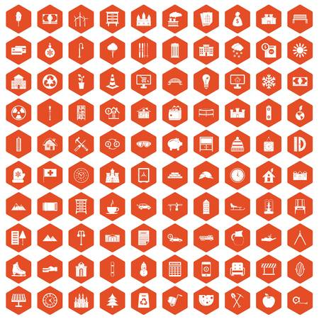 100 villa icons hexagon orange