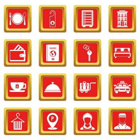 hangers: Hotel icons set red Illustration