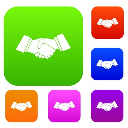 Handshake set icon in different colors isolated vector illustration. Premium collection Illustration