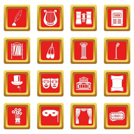Theater icons set in red color isolated vector illustration for web and any design