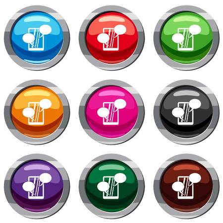 touch screen phone: Speech bubble on phone set icon isolated on white. 9 icon collection vector illustration