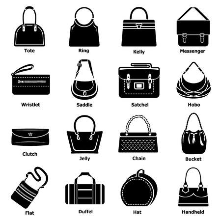 Woman bag types icons set, simple style Illustration